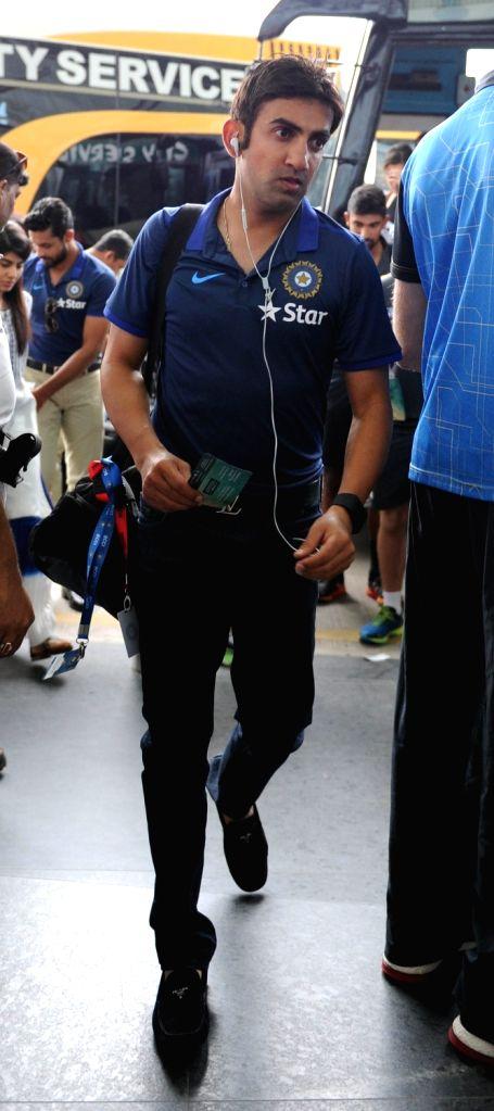 Indian cricketer Gautam Gambhir departs from Netaji Subhas Chandra Bose International Airport in Kolkata on Oct 5, 2016.