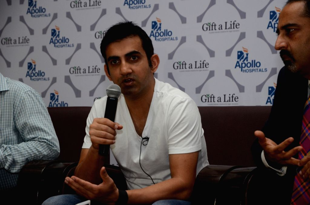 Indian cricketer Gautam Gambhir during a programme organised on the eve of World Organ Donation Day in New Delhi on Aug 12, 2017.