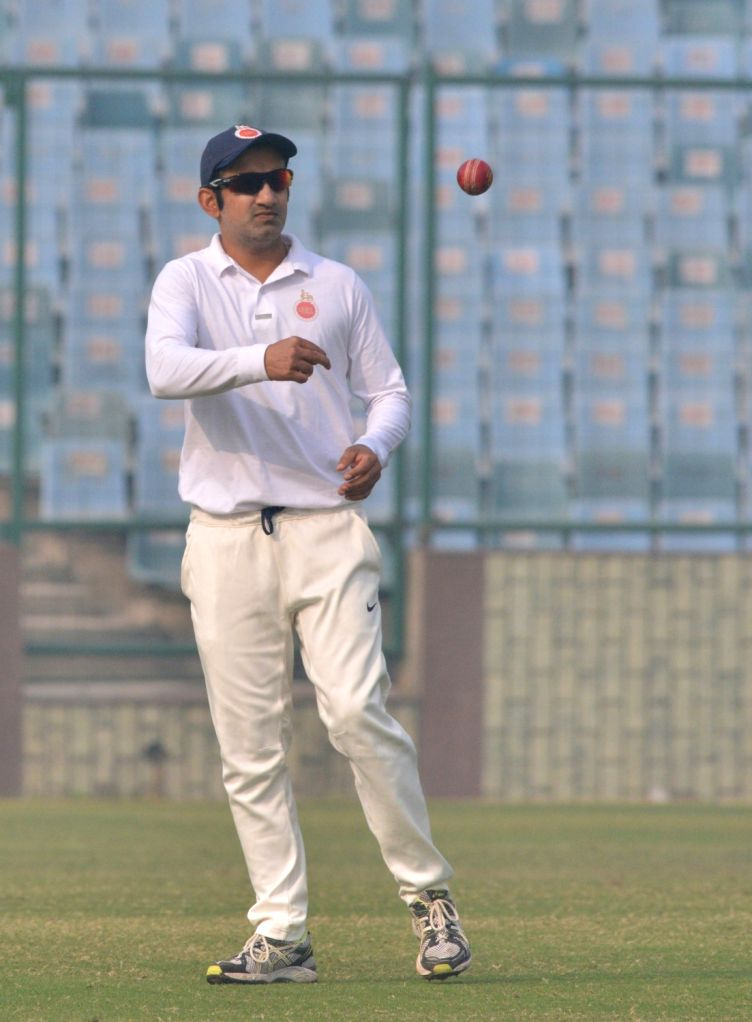 Indian cricketer Gautam Gambhir during a Ranji Trophy match between Delhi and Andhra, which is his last match after he announced his retirement from all forms of cricket on Tuesday; at ... - Feroz Shah Kotla