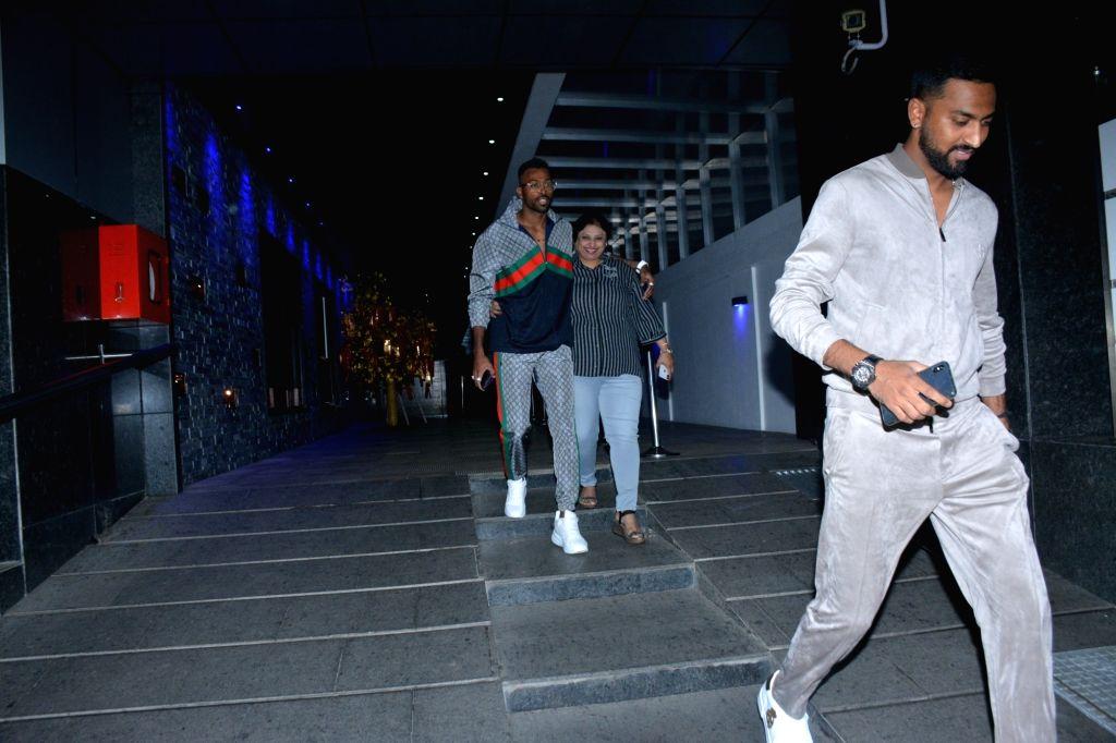 Indian cricketer Hardik Pandya seen at a Mumbai restaurant on Feb 21, 2019.
