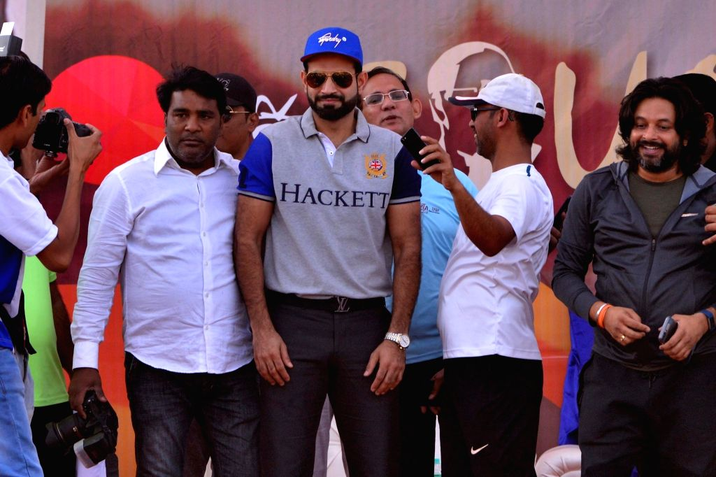 "Indian cricketer Irfan Pathan during ""Run For Equality 2018"" organised on 127th birth anniversary of Dr. B.R. Ambedkar, in Jaipur on April 14, 2018."