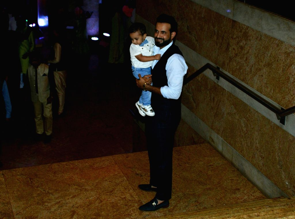 Indian cricketer Irfan Pathan with his son Imran Khan Pathan during sangeet ceremony of All India Football Federation (AIFF) President Praful Patel's daughter Poorna Patel  in Mumbai on July ... - Imran Khan Pathan, Praful Patel and Poorna Patel