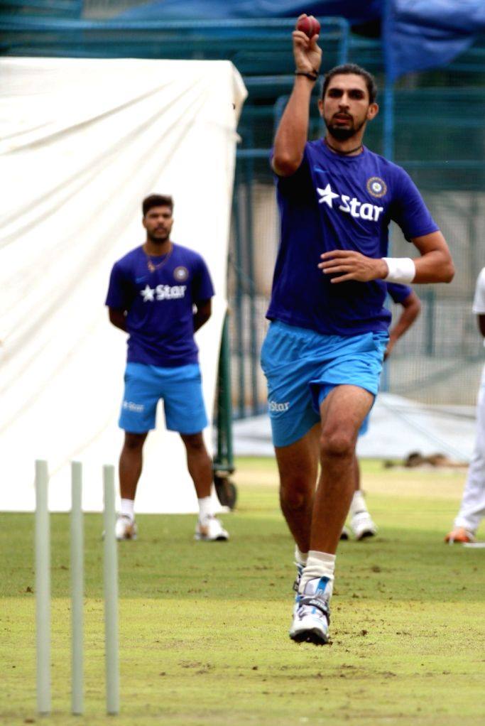 Indian cricketer Ishant Sharma during a preparatory camp ahead of  West Indies tour at National Cricket Academy at Chinnaswamy Stadium, in Bengaluru on June 30, 2016. - Ishant Sharma