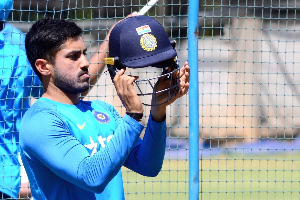 Indian cricketer Karun Nair during a practice session ahead of the second test match between India and Australia in Bengaluru on March 3, 2017.