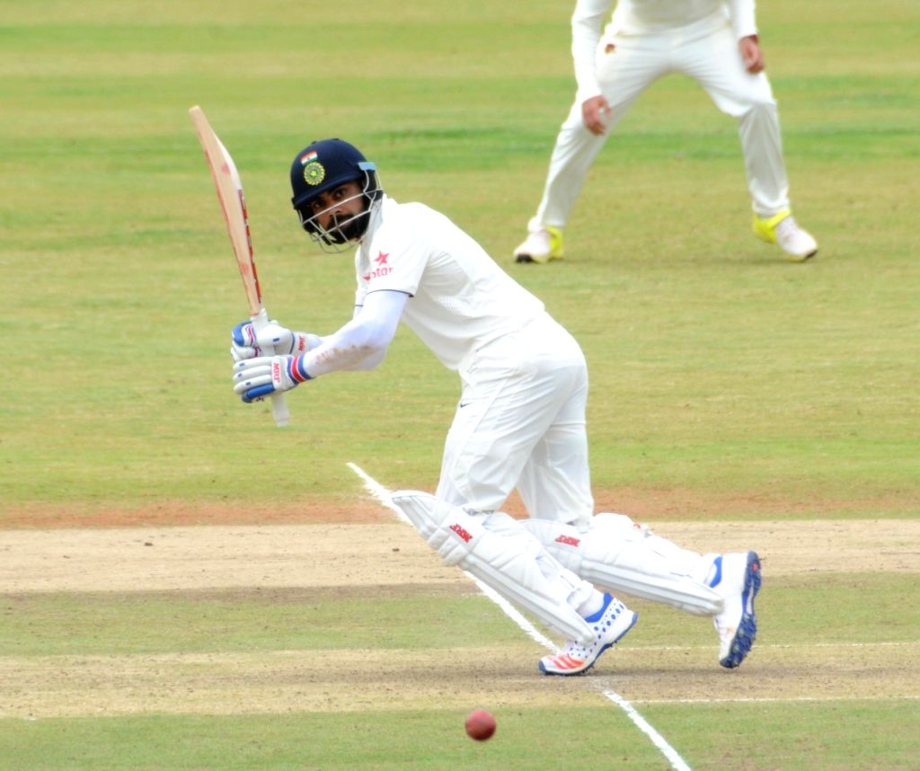 Indian cricketer KL Rahul in action during a practice match on the fifth day of the preparatory camp held ahead of West Indies tour, in Bengaluru on July 3, 2016.