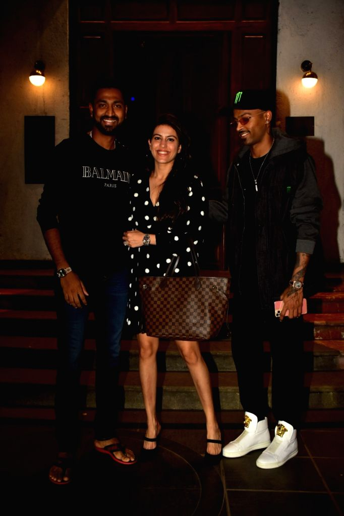 Indian cricketer Krunal Pandya with his wife Pankhuri Sharma and brother and cricketer Hardik Pandya seen at a Bandra restaurant in Mumbai on Nov 12, 2019. - Pankhuri Sharma