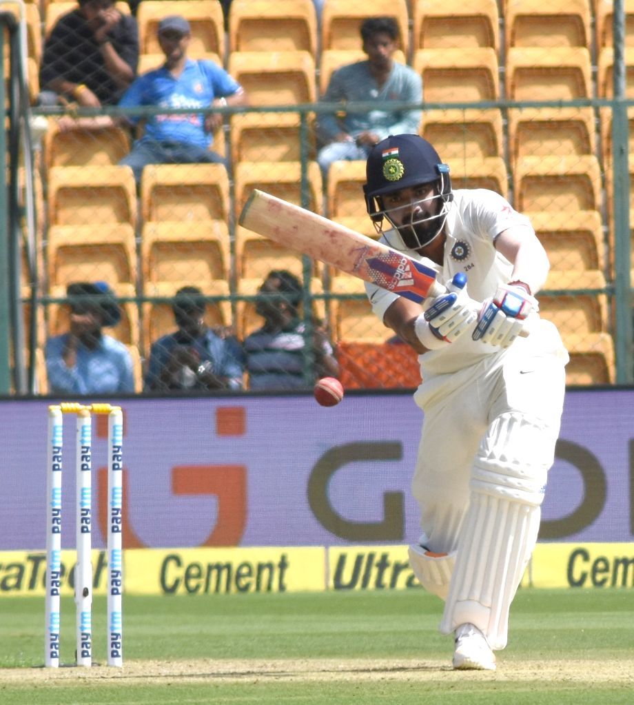 Indian cricketer Lokesh Rahul in action during day one of the second test match between India and Australia at M Chinnaswamy Stadium in Bengaluru on March 4, 2017. - Lokesh Rahul