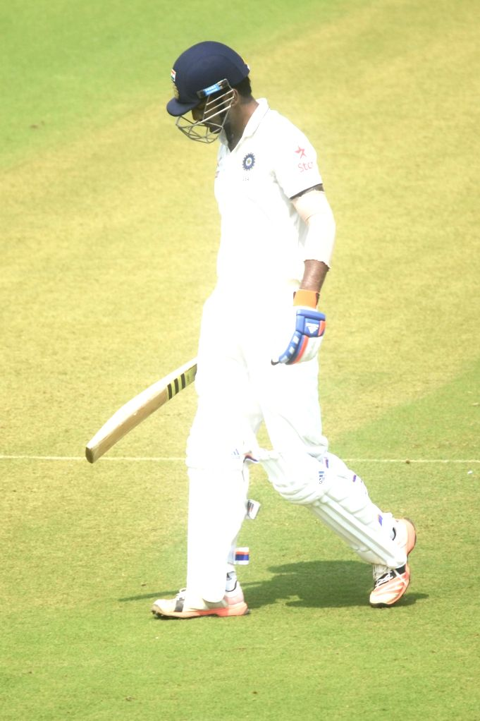 Indian cricketer Lokesh Rahul walks back to the pavilion after his dismissal during a match between Indian Board President`s XI and South African at Brabourne Stadium in Mumbai on Oct 30, ... - Lokesh Rahul