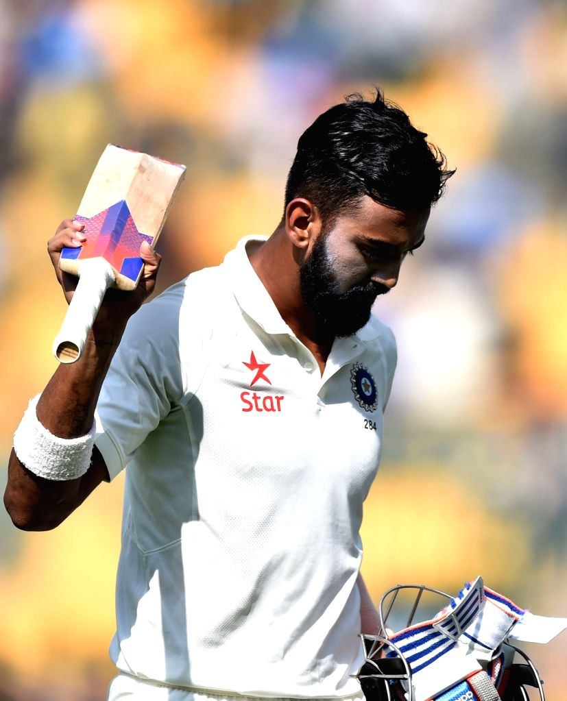 Indian cricketer Lokesh Rahul walks back to the pavilion after his dismissal during day one of the second test match between India and Australia at M Chinnaswamy Stadium in Bengaluru on ... - Lokesh Rahul