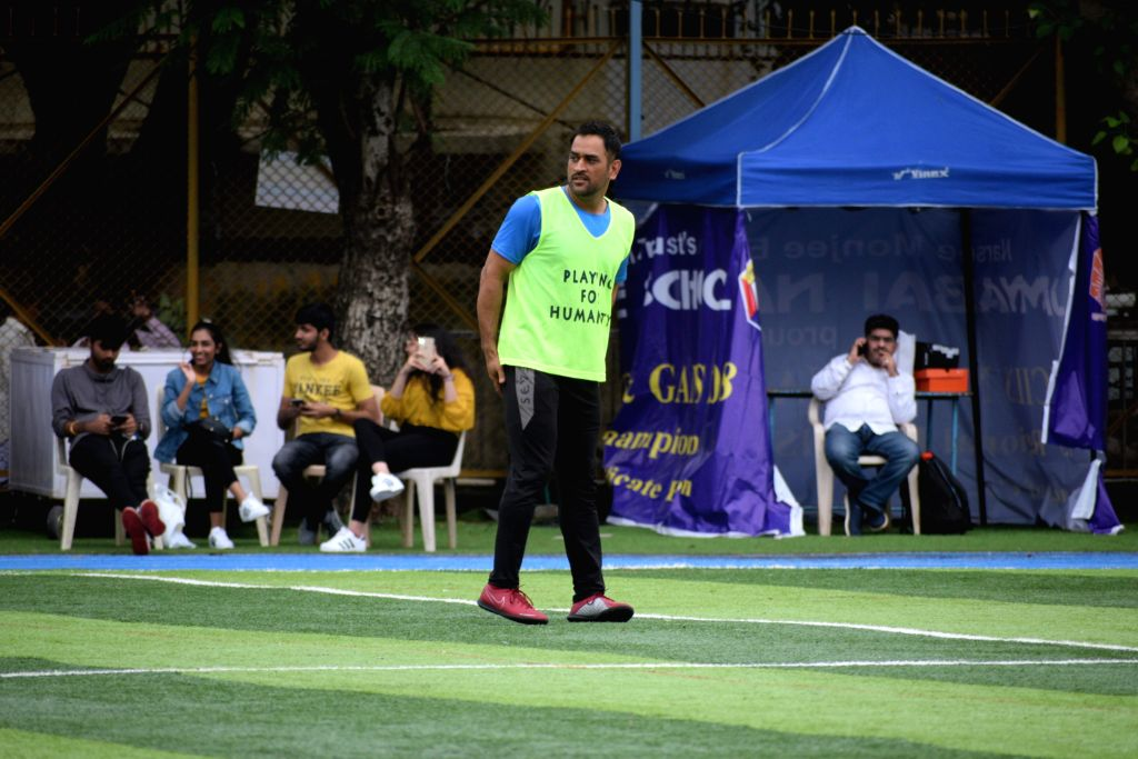 Indian cricketer M.S. Dhoni during a football match in Mumbai on July 28, 2019.