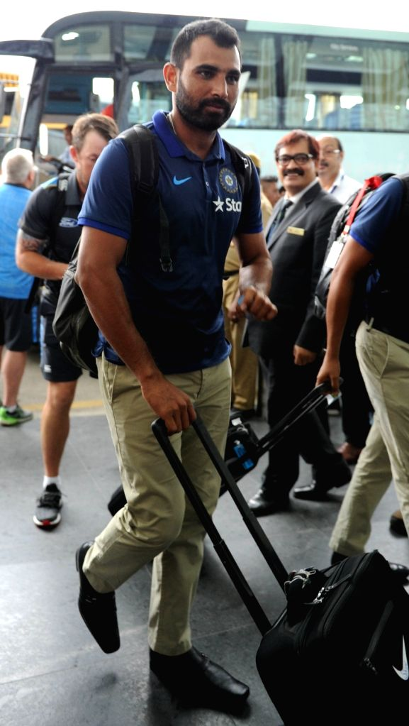 Indian cricketer Mohammed Shami departs from Netaji Subhas Chandra Bose International Airport in Kolkata on Oct 5, 2016.