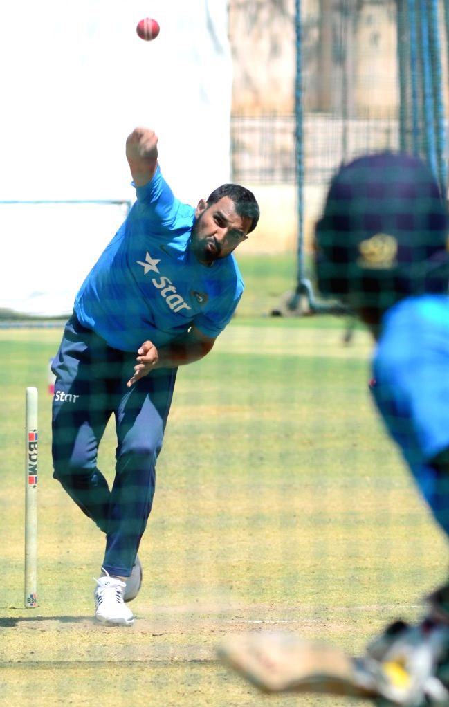 Indian cricketer Mohammed Shami during a practice session ahead of the second test match between India and Australia in Bengaluru on March 3, 2017.