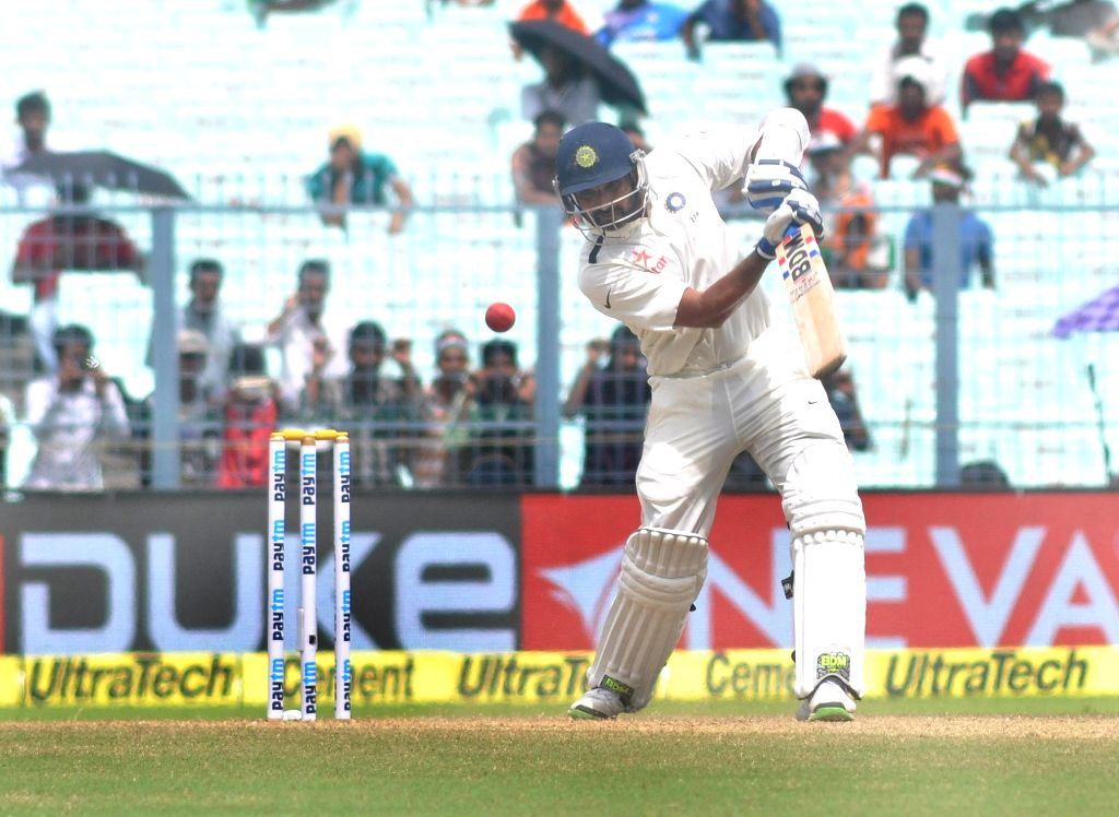 Indian cricketer Mohammed Shami in action on Day 2 of the Second Test Match between India and New Zealand at Eden Gardens in Kolkata on Oct 1, 2016.