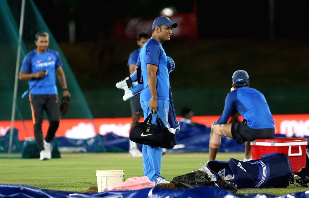 Indian cricketer MS Dhoni during a practice session ahead of the first one-day international cricket match against Sri Lanka in Dambulla, Sri Lanka on Aug 19, 2017. - MS Dhoni