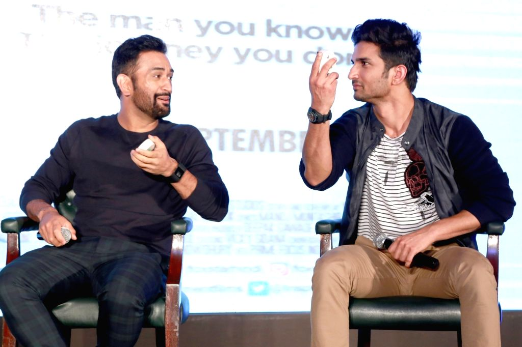 "Indian cricketer MS Dhoni with actor Sushant Singh Rajput during promotion of ""MS Dhoni : The Untold Story"" - a biopic film in New Delhi on Sept 27, 2016. - Sushant Singh Rajput and MS Dhoni"