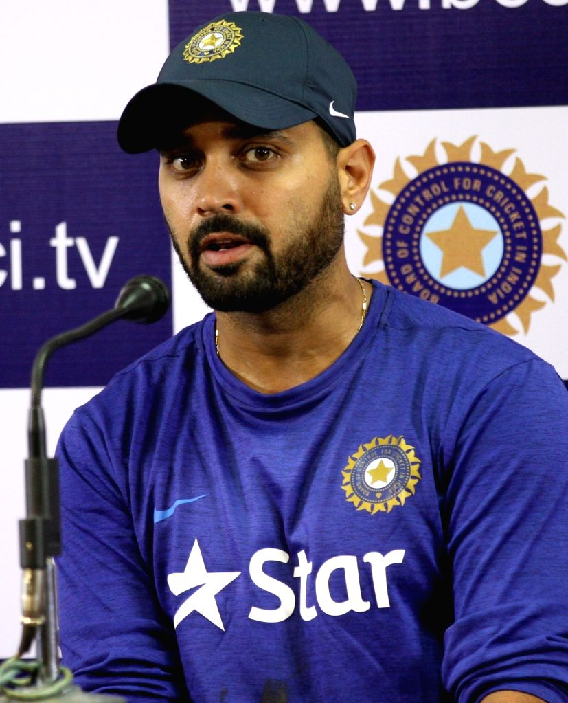 Indian cricketer Murali Vijay addresses a press conference at National Cricket Academy at Chinnaswamy Stadium, in Bengaluru on June 30, 2016.