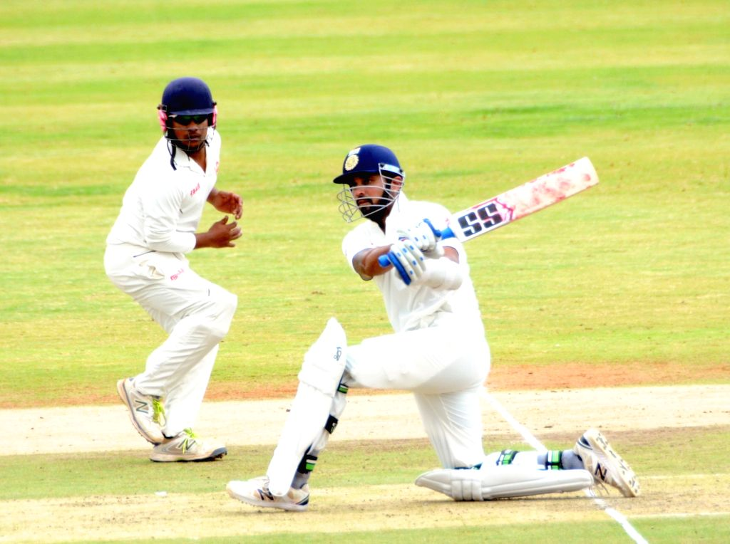Indian cricketer Murali Vijay in action during a practice match on the fifth day of the preparatory camp held ahead of West Indies tour, in Bengaluru on July 3, 2016.