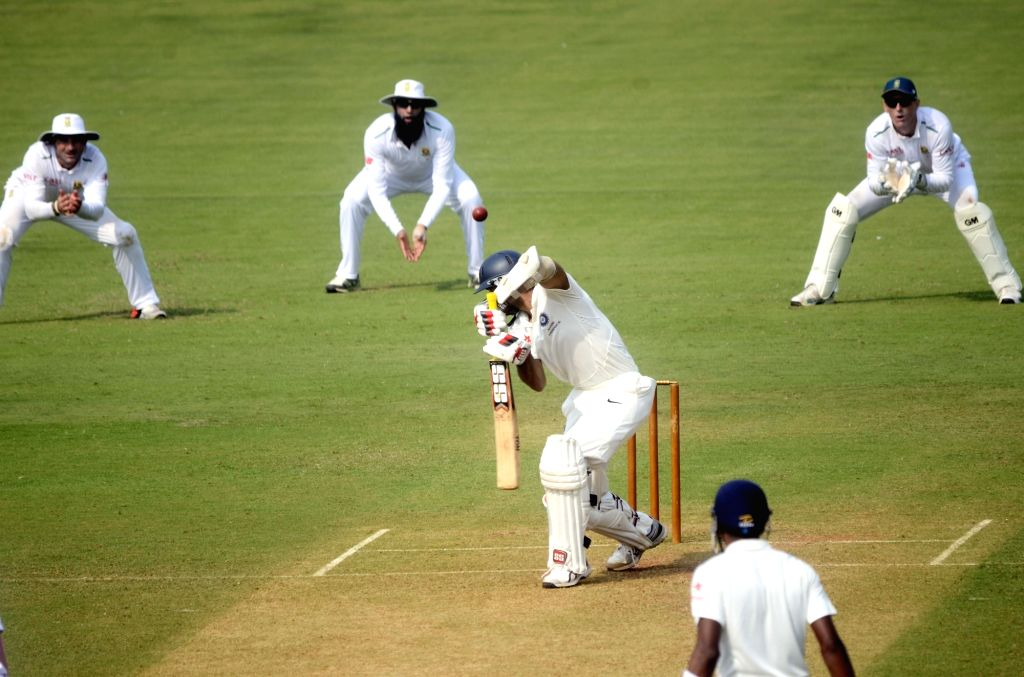 Indian cricketer Naman Ojha in action during a match between Indian Board President`s XI and South African at Brabourne Stadium in Mumbai on Oct 30, 2015.