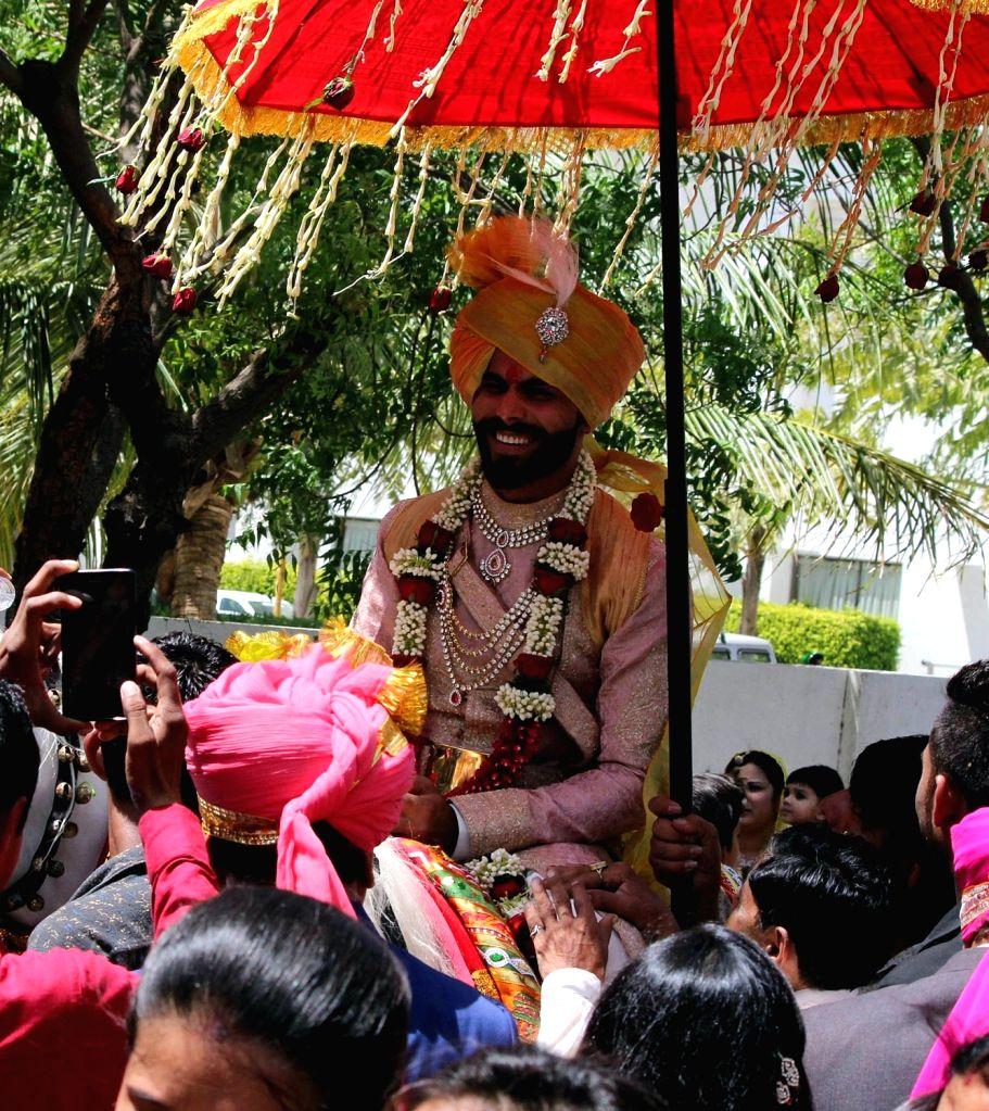 Indian cricketer Ravindra Jadeja during his baarat -wedding procession -in Rajkot, on April 17, 2016. - Ravindra Jadeja