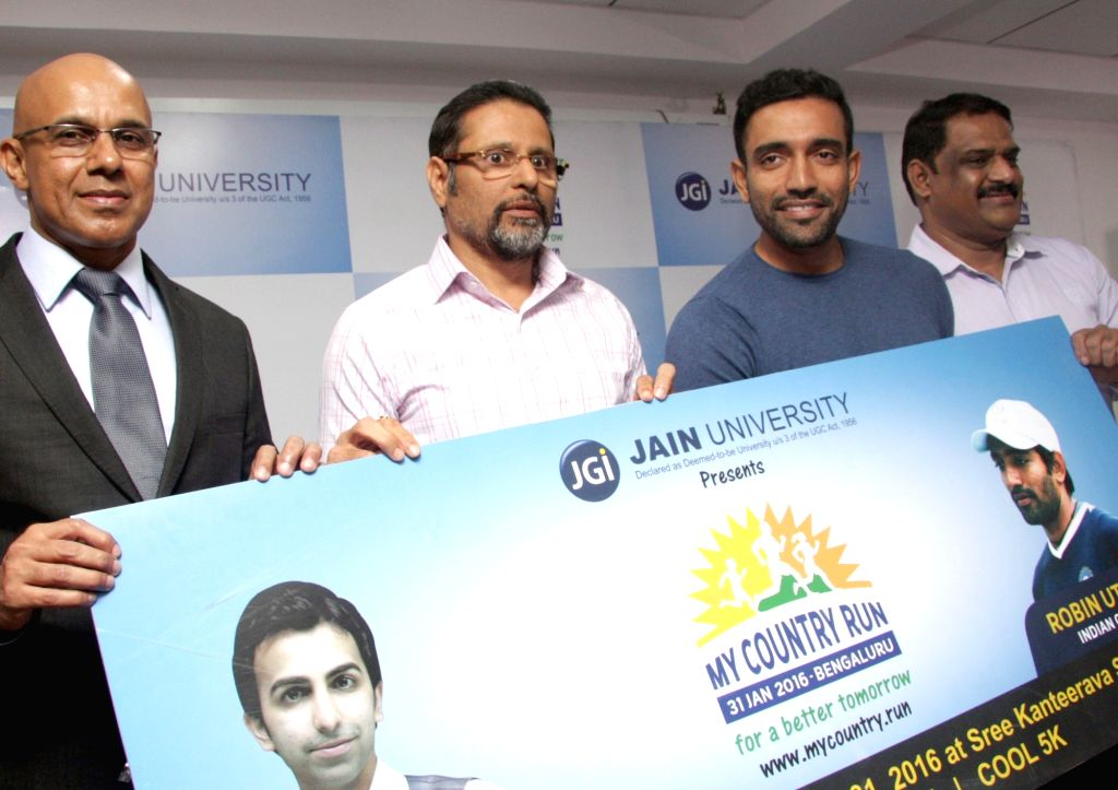 Indian cricketer Robin Uthappa during the announcement of `My Country Run 2016` in Bengaluru, on Jan 19, 2016.