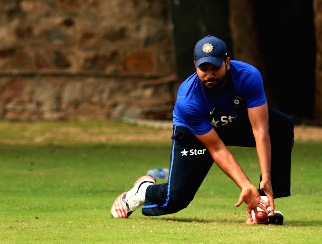 Indian cricketer Rohit Sharma  during a practice session ahead of the Fourth Test Match against India at Feroz Shah Kotla Ground in New Delhi on Dec 2, 2015. - Rohit Sharma