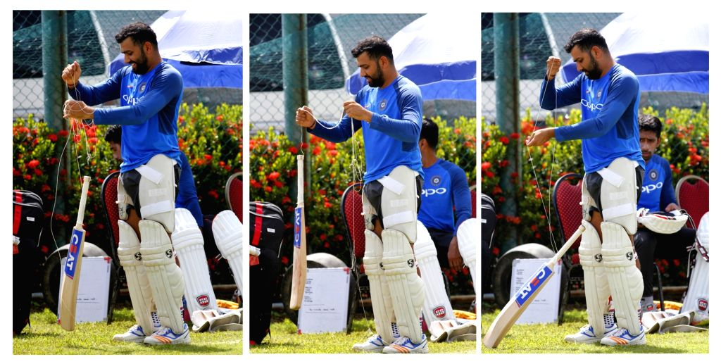 Indian cricketer Rohit Sharma during a practice session at Galle International Stadium in Galle, Sri Lanka on July 25, 2017. - Rohit Sharma