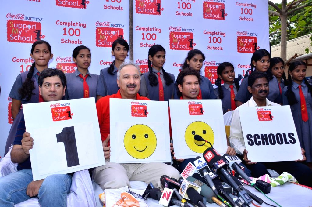 Indian cricketer Sachin Tendulkar at NDTV Coca Cola Support My School 100th school launch. - Sachin Tendulkar