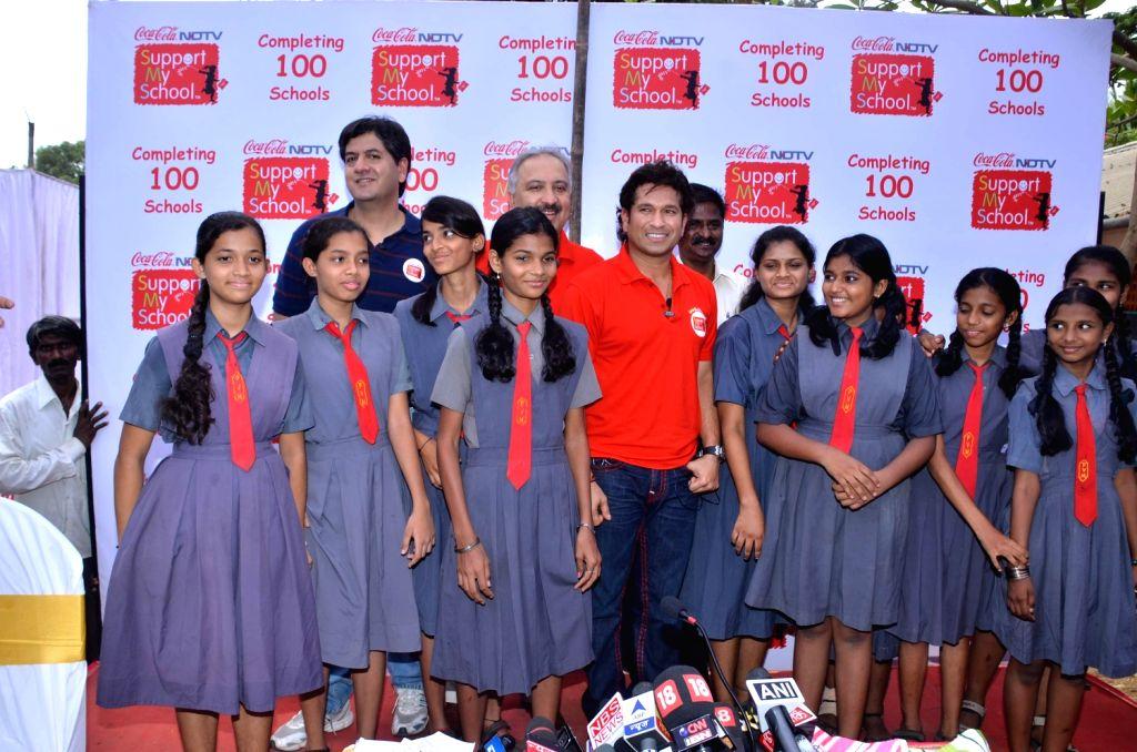 Indian cricketer Sachin Tendulkar at NDTV Coca Cola Support My School 100th school launch. - Sachin Tendulkar