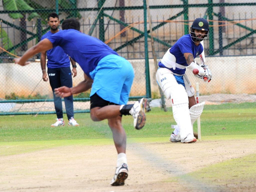Indian cricketer Shikhar Dhawan during a preparatory camp ahead of  West Indies tour at National Cricket Academy at Chinnaswamy Stadium, in Bengaluru on July 1, 2016. - Shikhar Dhawan