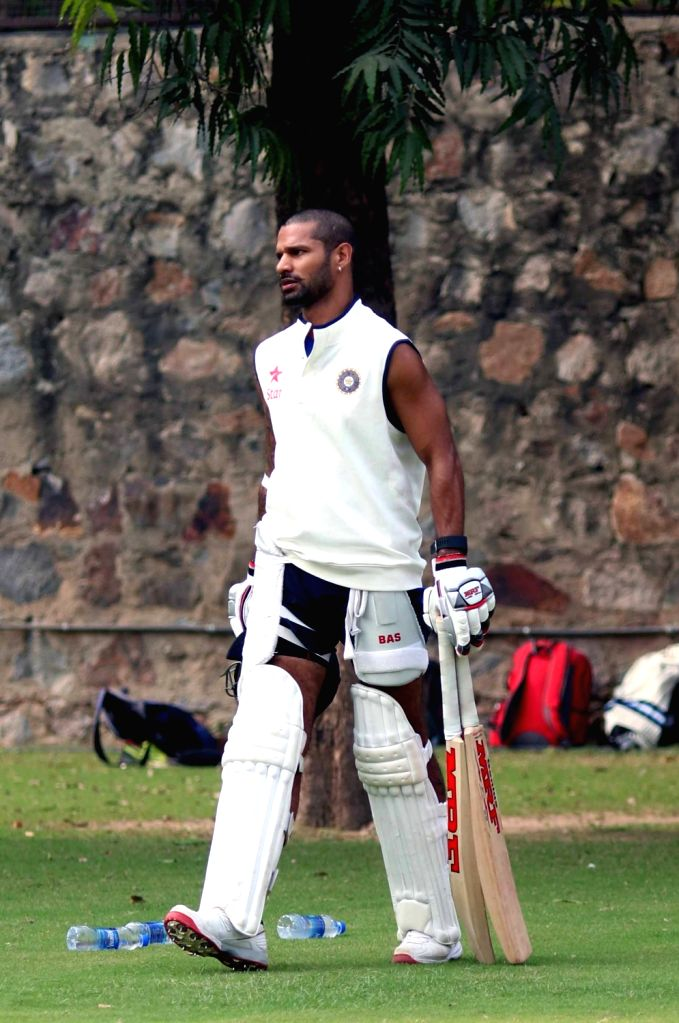 Indian cricketer Shikhar Dhawan during a practice session ahead of the Fourth Test Match against India at Feroz Shah Kotla Ground in New Delhi on Dec 2, 2015. - Shikhar Dhawan