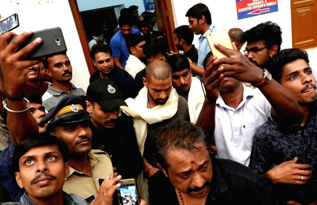 Indian cricketer Shikhar Dhawan visits at Sree Padmanabhaswamy Temple in Thiruvananthapuram on Oct 31, 2018. - Shikhar Dhawan