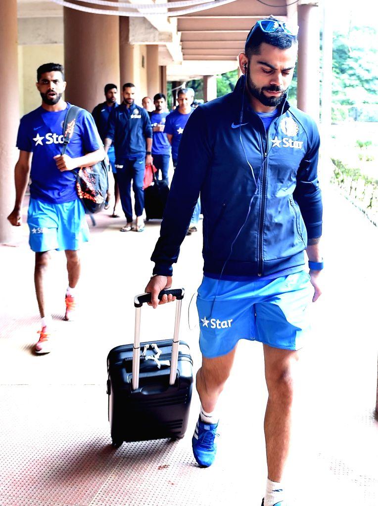 Indian cricketer Virat Kohli during the team preparatory camp before its tour to West Indies at Chinnaswamy Stadium, in Bengaluru on June 29, 2016. - Virat Kohli