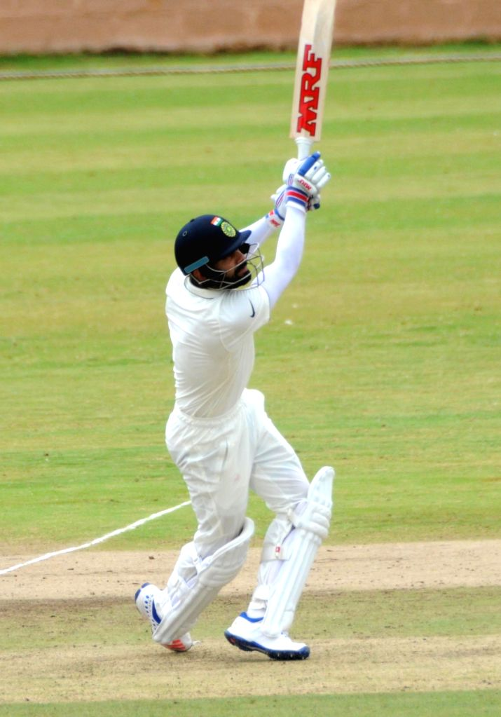 Indian cricketer Virat Kohli in action during a practice match on the fifth day of the preparatory camp held ahead of West Indies tour, in Bengaluru on July 3, 2016. - Virat Kohli