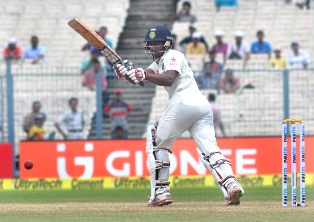 Indian cricketer Wriddhiman Saha in action on Day 2 of the Second Test Match between India and New Zealand at Eden Gardens in Kolkata on Oct 1, 2016.