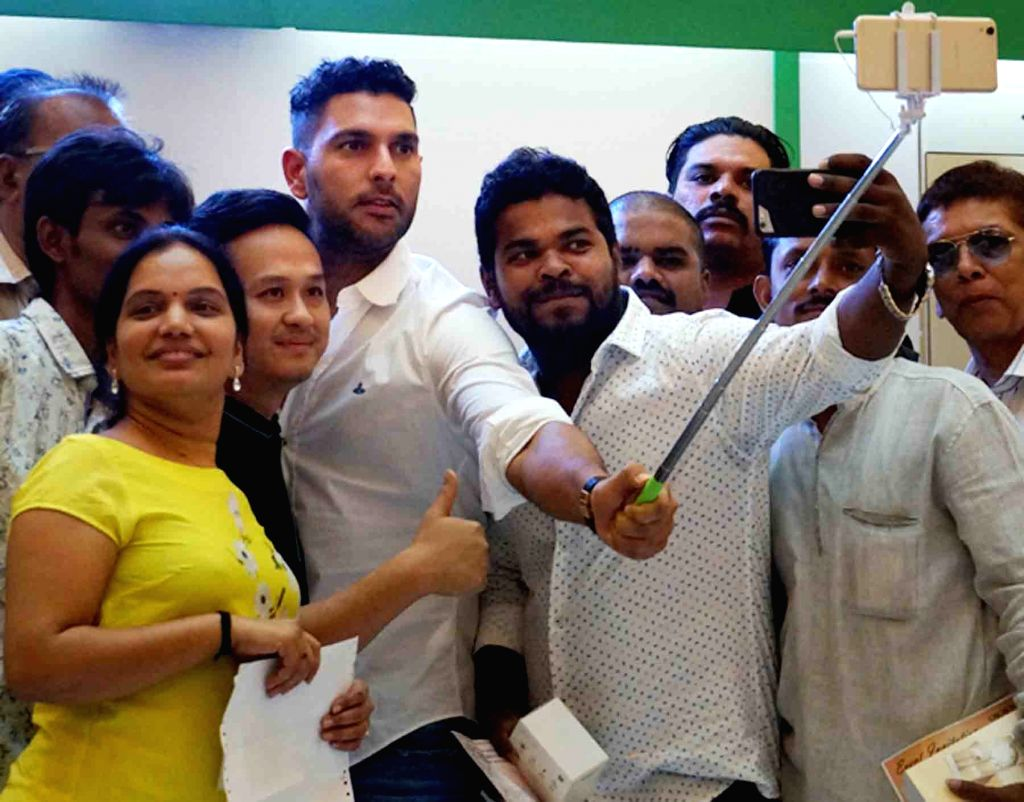 Indian cricketer Yuvraj Singh during a promotional programme in Hyderabad on April 23, 2016. - Yuvraj Singh