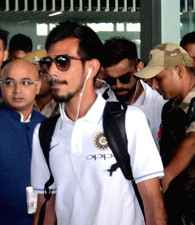 Indian cricketer Yuzvendra Chahal arrives at Netaji Subhas Chandra Bose International Airport in Kolkata on Sept 18, 2017.
