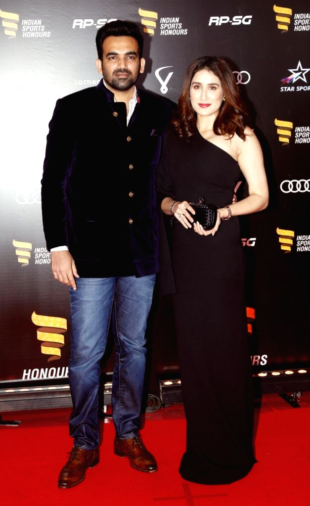 Indian cricketer Zaheer Khan and his wife Sagarika Ghatge at the red carpet of Indian Sports Honours Awards in Mumbai on Sep 27, 2019. - Zaheer Khan