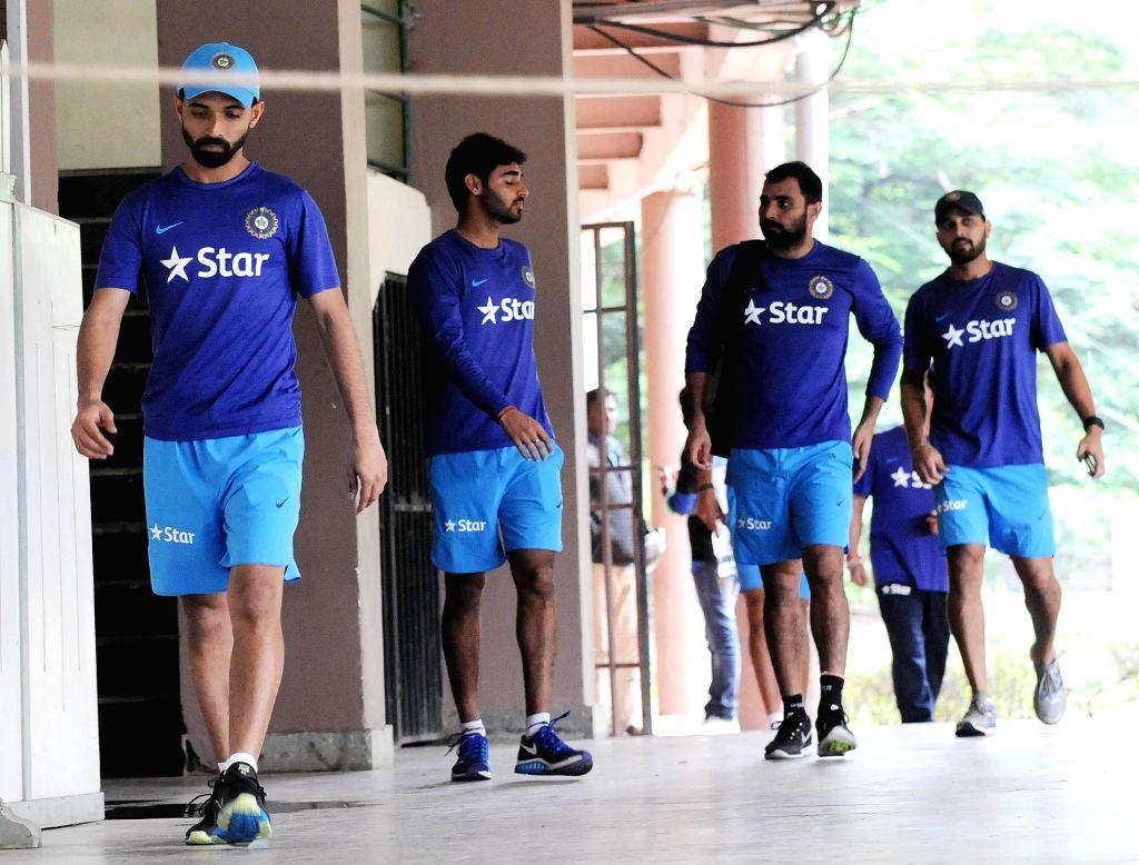 Indian cricketers Ajinkya Rahane, Bhuvneshwar Kumar, Mohammed Shami and Murali Vijay during the team preparatory camp before its tour to West Indies at Chinnaswamy Stadium, in Bengaluru on ... - Bhuvneshwar Kumar