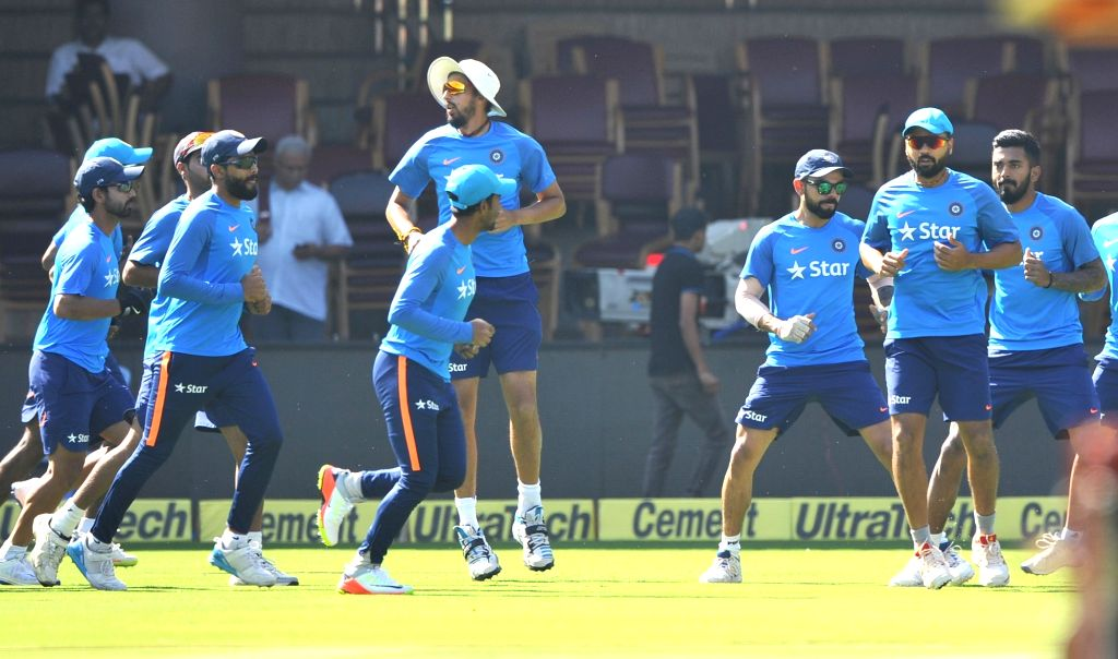 Indian cricketers during a practice session ahead of the second test match between India and Australia in Bengaluru on March 3, 2017.