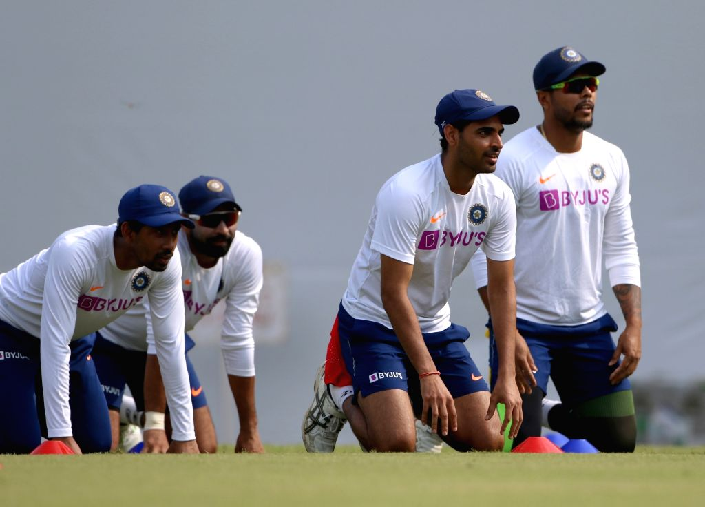 Indian cricketers during a practice session ahead of the 1st Test match against Bangladesh, at Holkar Cricket Stadium in Indore, Madhya Pradesh on Nov 12, 2019.