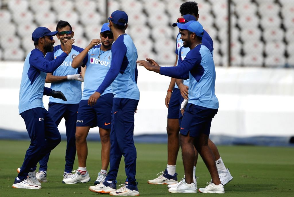 Indian cricketers during a practice session ahead of the first Twenty20 match between India and West Indies at Rajiv Gandhi International Cricket Stadium in Hyderabad on Dec 4, 2019.