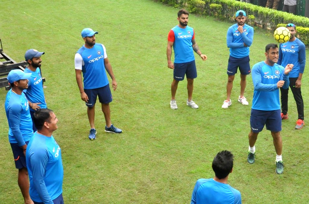 Indian cricketers during a practice session at the Eden Gardens in Kolkata on Sept 20, 2017.