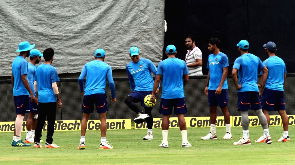Indian cricketers during a practice session in Chennai on Sept 16, 2017.