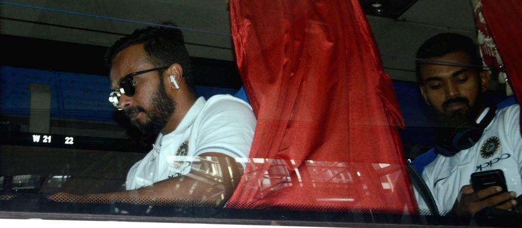 Indian cricketers KL Rahul and Kedar Jadhav arrive at Netaji Subhas Chandra Bose International Airport in Kolkata on Sept 18, 2017.