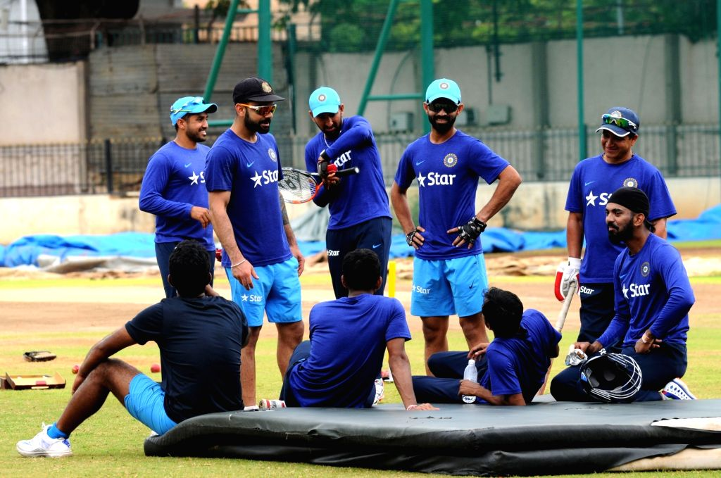 Indian crickets during a preparatory camp ahead of  West Indies tour at National Cricket Academy at Chinnaswamy Stadium, in Bengaluru on July 4, 2016.
