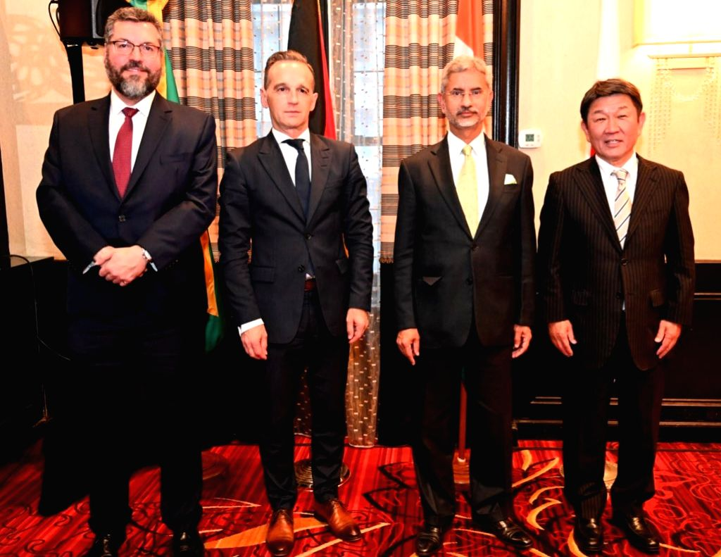 Indian External Affairs Minister S Jaishakar with his counterparts from the G-4 nations, also comprising Brazil, Germany and Japan in their meeting on the sidelines of the UNGA meeting. - S Jaishakar