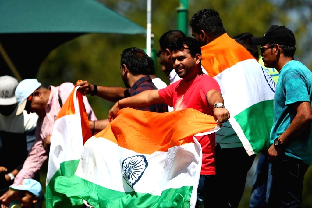 Indian fans cheer for their team during the ICC U19 World Cup final between India and Bangladesh, in Potchefstroom, South Africa on Feb 9, 2020.