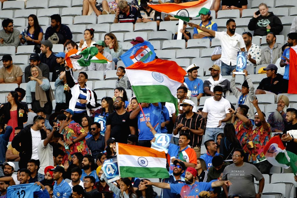 Indian fans cheer for their team during the the second ODI of the three-match series between India and New Zealand at the Eden Park in Auckland, New Zealand on Feb 8, 2020.
