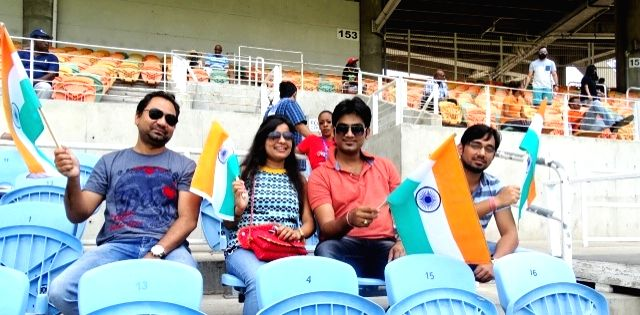 Indian fans cheers during the second test match between India and West Indies at Kingston, Jamaica July 31, 2016.