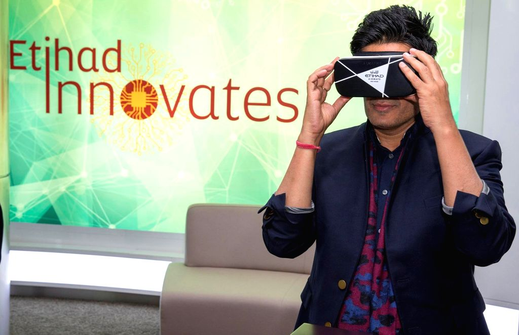 Indian fashion couturier Manish Malhotra is pictured at Etihad Airways? Innovation Centre in Abu Dhabi to officially launch his fashion show that was shot in virtual reality in Mumbai last year. - Manish Malhotra